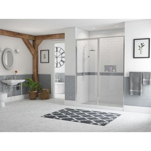 Legend 59.5 in. to 61 in. x 66 in. Framed Hinge Swing Shower Door with Inline Panel in Chrome with Clear Glass
