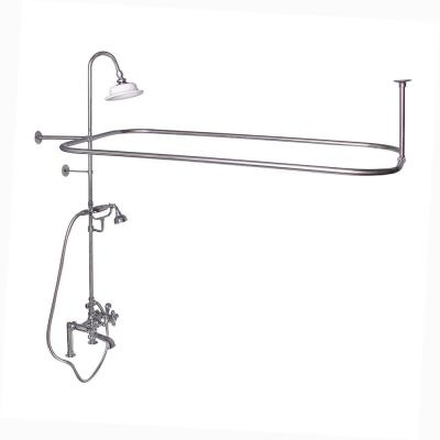3-Handle Rim Mounted Claw Foot Tub Faucet with Riser, Hand Shower, Shower Head and Shower Rod in Polished Chrome