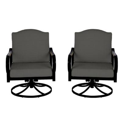 Laurel Oaks Brown Steel Outdoor Patio Lounge Chair with Cushion Guard Graphite Dark Gray Cushions (2-Pack)