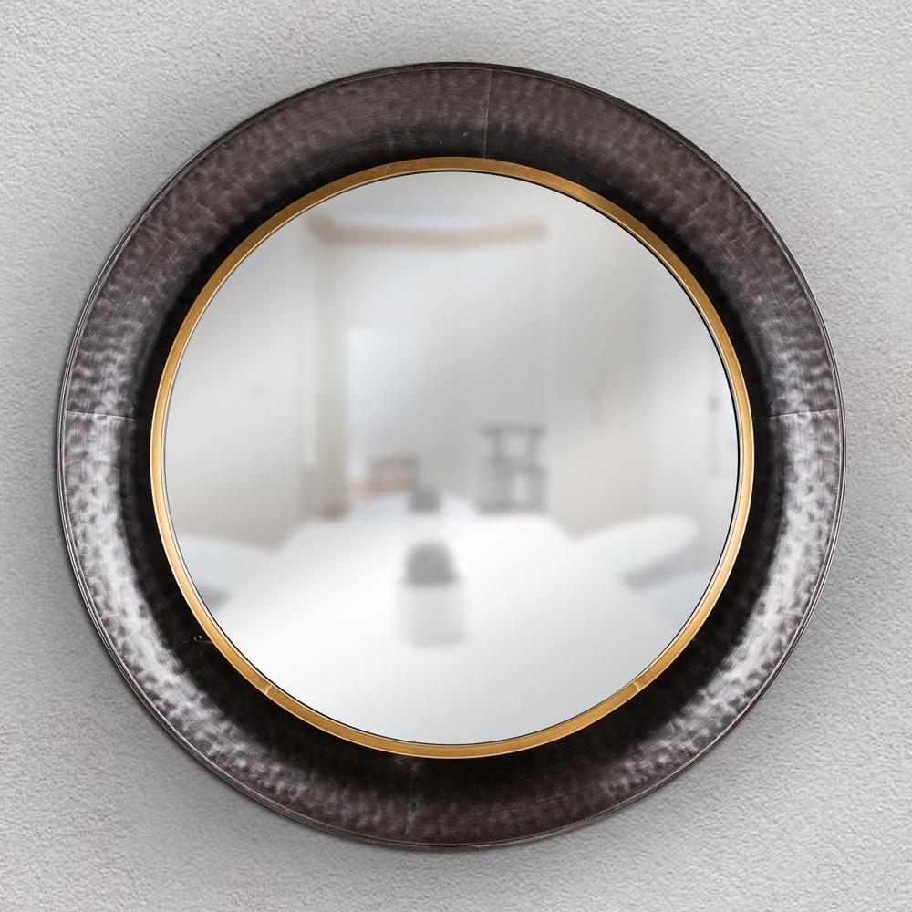 Crystal art gallery round gold concave silver metal framed Round framed mirror