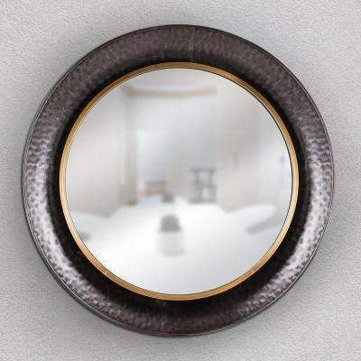Round Gold/Concave Silver Metal Framed Wall Mirror
