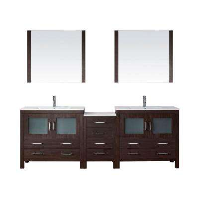 Dior 90 in. W Bath Vanity in Espresso with Ceramic Vanity Top in White with Square Basin and Mirror and Faucet