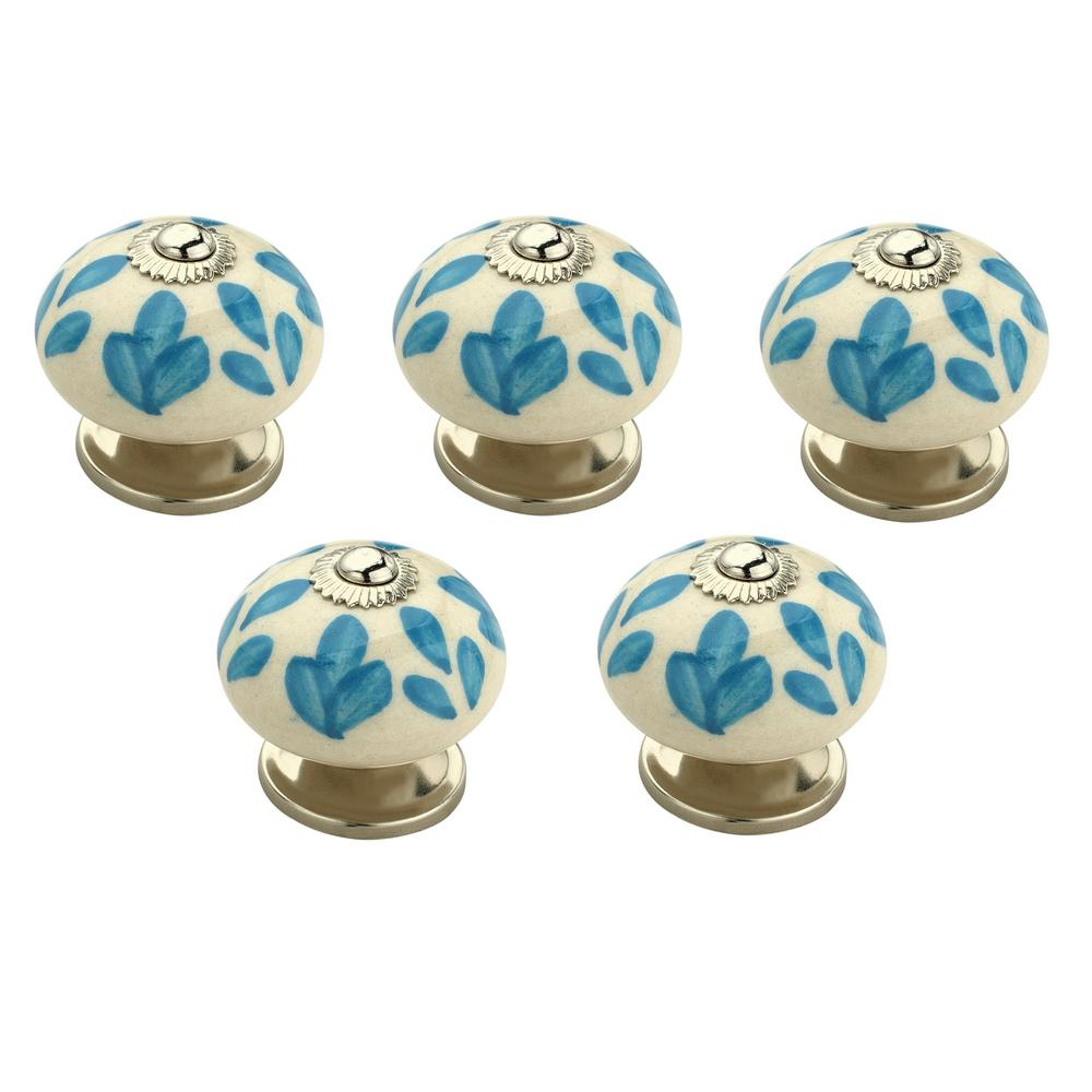 Mascot Hardware Floral Elegant 1-3/5 in. (41mm) Blue and White ...