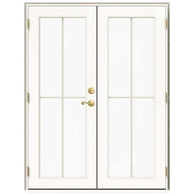 59.5 in. x 79.5 in. W-2500 Desert Sand Right-Hand Inswing French Wood Patio Door