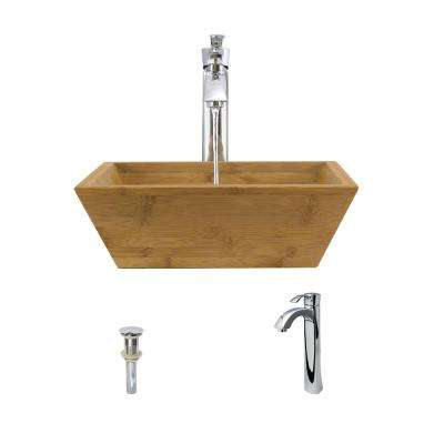 Vessel Sink in Bamboo with 726 Faucet and Pop-Up Drain in Chrome