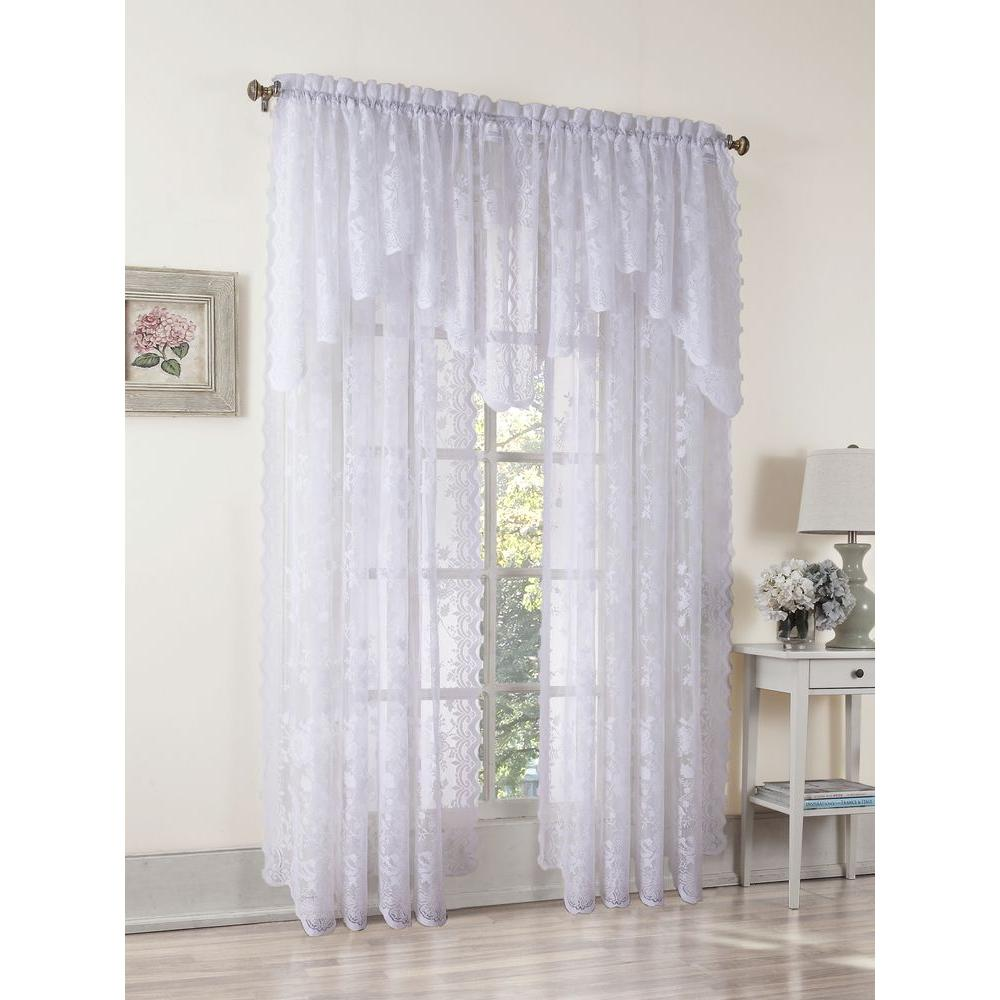 LICHTENBERG Sheer White Alison Lace Curtain Panel 58 In W X 84