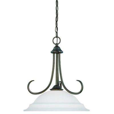 Bella 1-Light Oiled Bronze Pendant with Etched Glass Shade