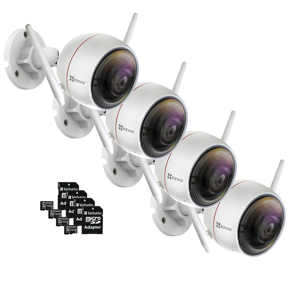 EZVIZ ezGuard C3W 1080p Indoor/Outdoor Bullet Wi-Fi Full HD Security Camera with 16 GB microSDHC Card and Adapter (4-Pack)