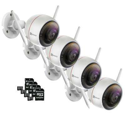 ezGuard C3W 1080p Indoor/Outdoor Bullet Wi-Fi Full HD Security Camera with 16 GB microSDHC Card and Adapter (4-Pack)