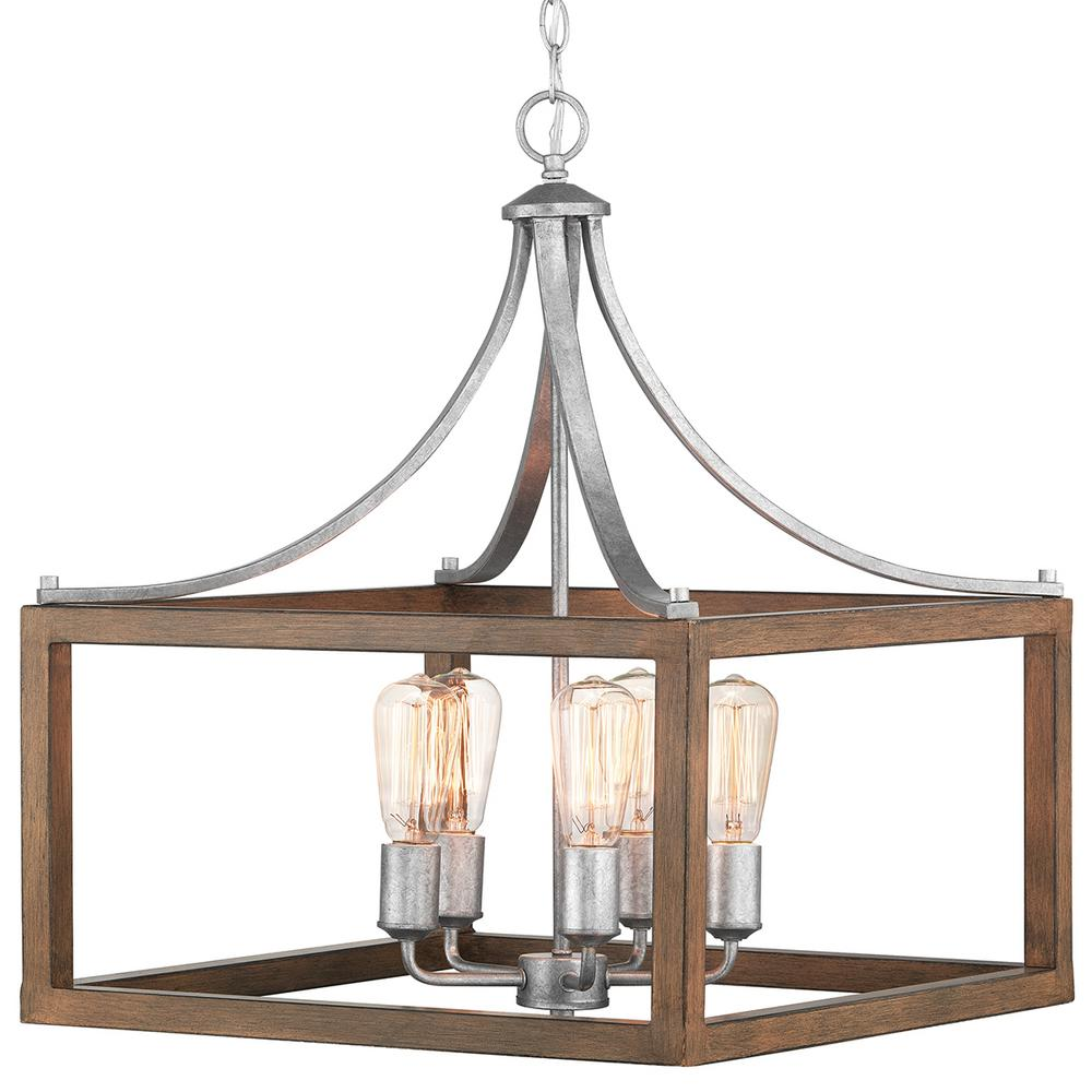 Home Decorators Collection Boswell Quarter Collection 5-Light Galvanized Pendant with Painted Chestnut Wood Accents