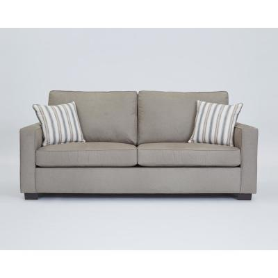 Colson 89.8 in. Stone Polyester 3-Seater Queen Sleeper Sofa Bed with Square Arms