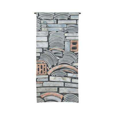 "Gray and Tan ""Tile Wall"" Wall Tapestry"