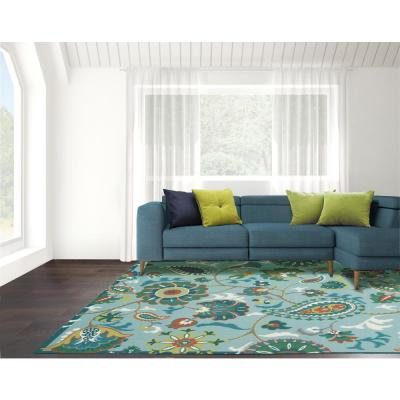 Sun N Shade Light Blue 5 ft. x 8 ft. Floral Traditional Area Rug