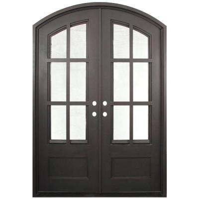 62 in. x 97.5 in. Craftsman Classic Decorative 12 Lite Painted Oil Rubbed Bronze Wrought Iron Prehung Front Door