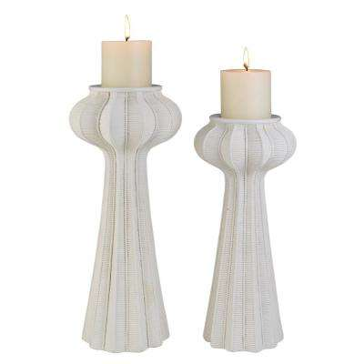 White Nautilus Polyresin Candleholders (Set of 2)