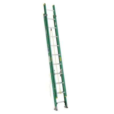 20 ft. Fiberglass D-Rung Extension Ladder with 225 lb. Load Capacity Type II Duty Rating