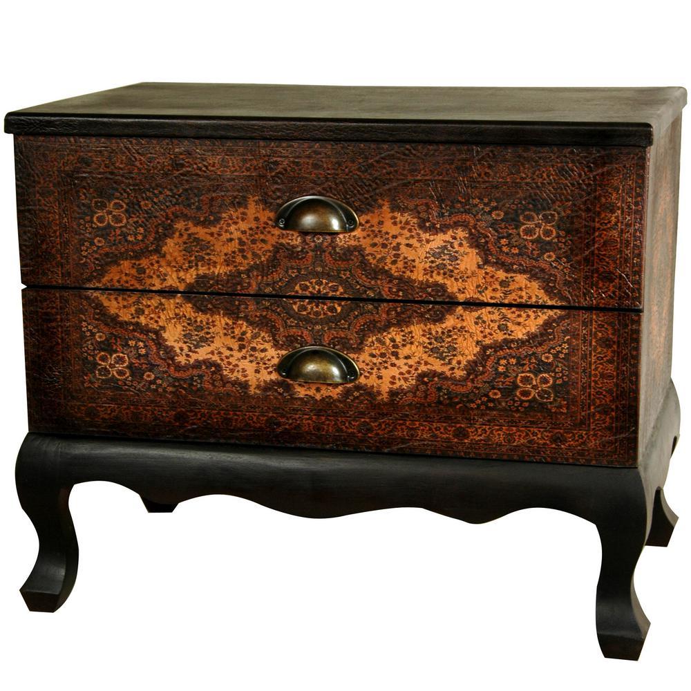 Oriental Furniture Antique Brown Olde-Worlde Euro Two Drawer Cabinet