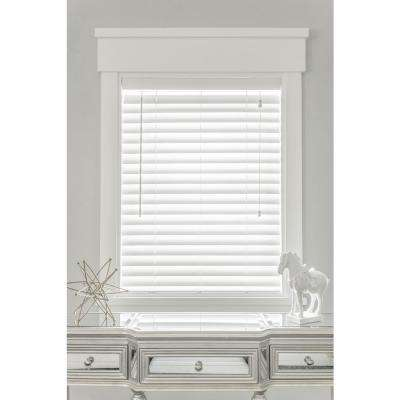 24 in. W x 36 in. L Faux-wood White Automated 2-1/2 in. Horizontal Blind