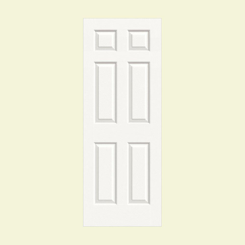 JELD-WEN 28 in. x 80 in. Colonist White Painted Textured Molded ...