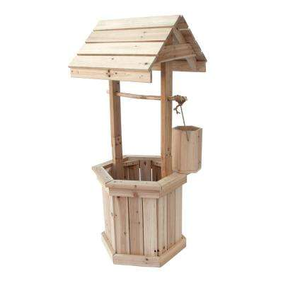 55 in. Decorative Wood Wishing Well