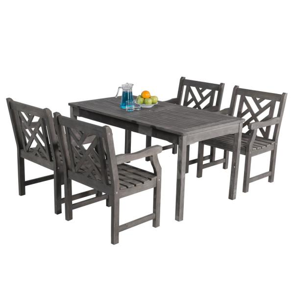 Vifah Renaissance Hand Scraped Acacia 5 Piece Patio Dining Set With Herringbone Back Armchairs V1297set8 The Home Depot