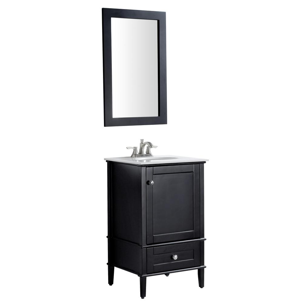 ANZZI Alexander 21 in. W x 34.4 in. H Bath Vanity in Rich Black with Stone Vanity Top in White with White Basin and Mirror