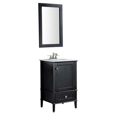 Alexander 21 in. W x 34.4 in. H Bath Vanity in Rich Black with Stone Vanity Top in White with White Basin and Mirror