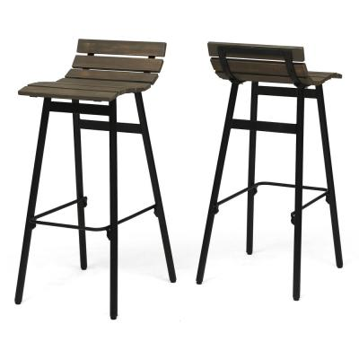 Pepperwood 35 in. Grey and Black Wooden Bar Stools (Set of 2)