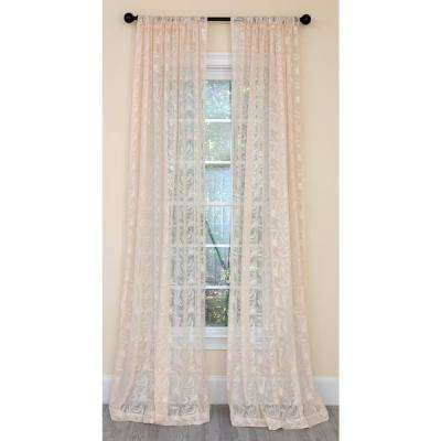Charming Night Sheer Single Panel Rod Pocket Curtain in Champagne -54 in. x 120 in.