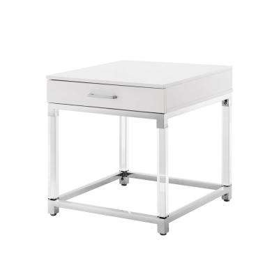 Caspian White/Chrome End Table with High Gloss Finish