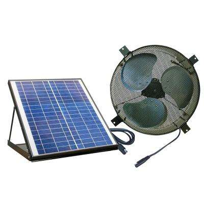 Solar Powered 20-Watt Polycrystalline Panel Covering 1350 CFM Black Indoor/Outdoor Gable Mount Attic Fan