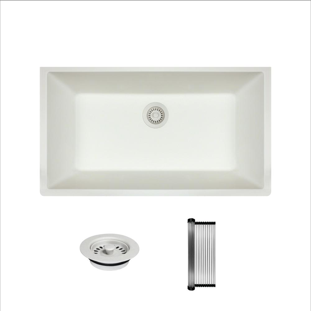 7963ce457fd All-in-One Undermount Granite Composite 32-5 8 in. Single Bowl Kitchen Sink  in White