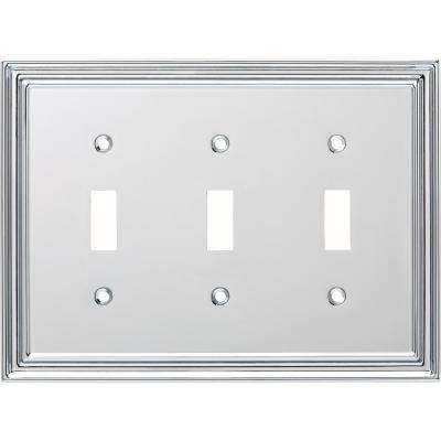 Silverton Decorative Triple Light Switch Cover Polished Chrome