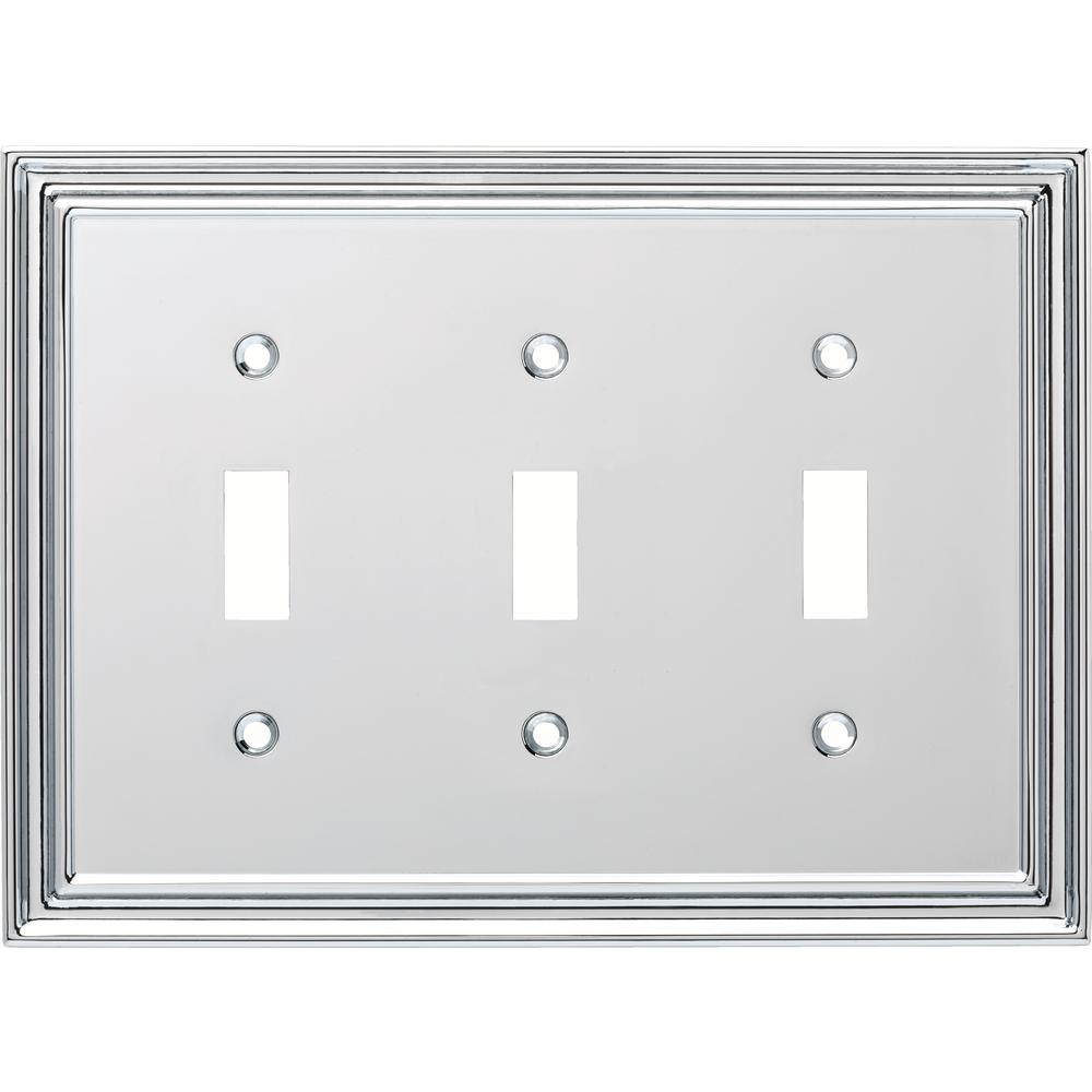 Liberty Silverton Decorative Triple Light Switch Cover, Polished Chrome