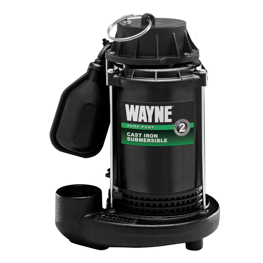 Wayne 1/3 HP Cast Iron Submersible Sump Pump with Tether Float Switch