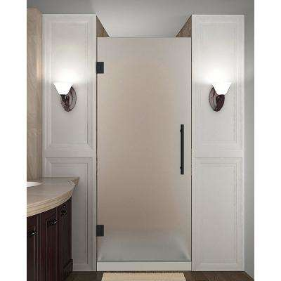 Cascadia 33.75 - 34.25 in. x 72 in. Frameless Hinged Shower Door with Frosted Glass in Matte Black