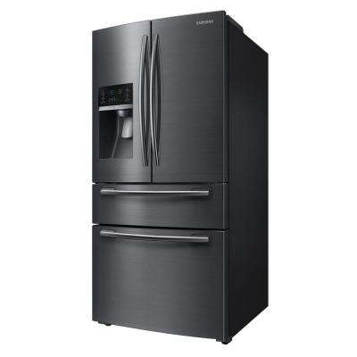 33 in. W 24.73 cu. ft. French Door Refrigerator in Black Stainless Steel