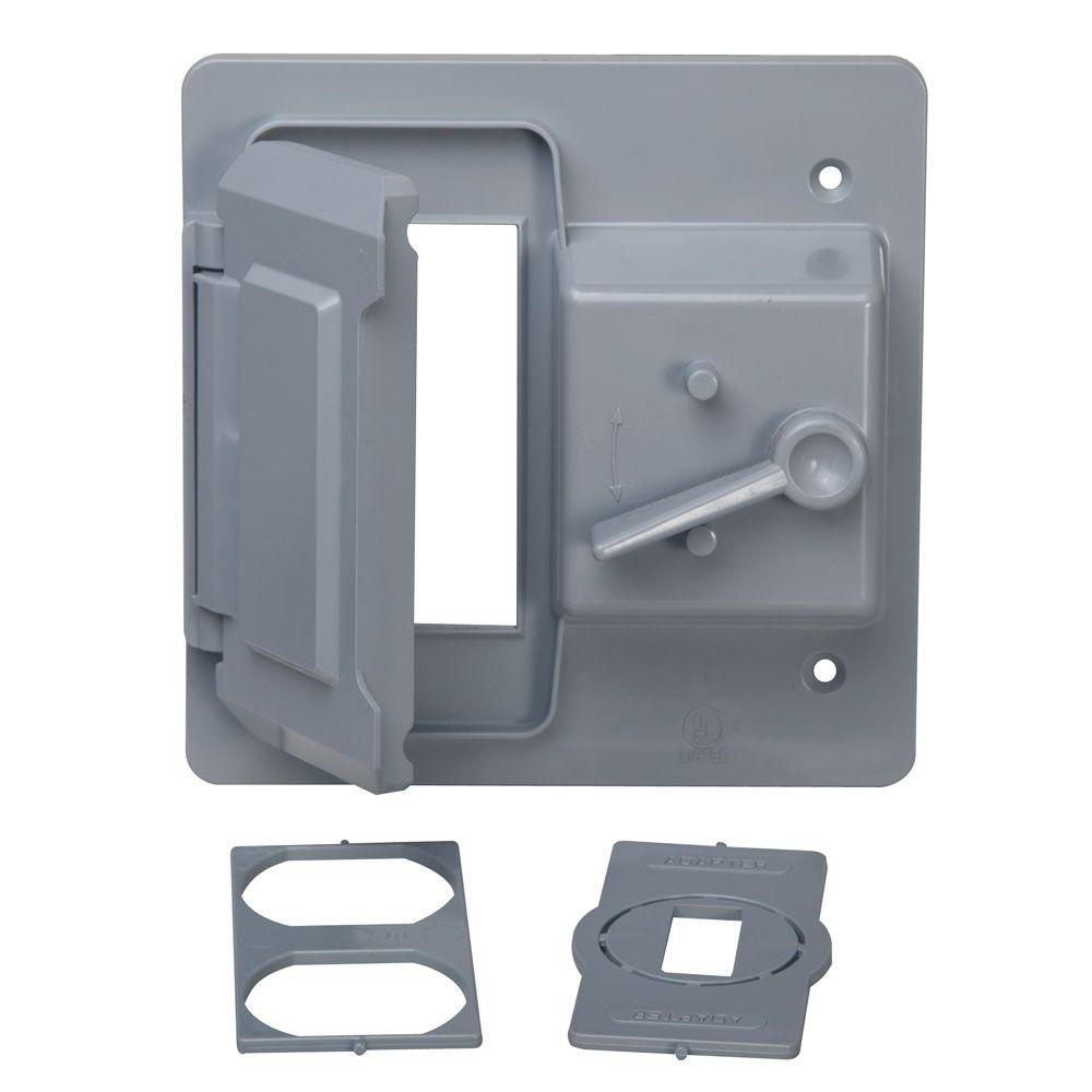 Bell 2 Gang Toggle And Receptacle Gfci Weatherproof Cover Gray