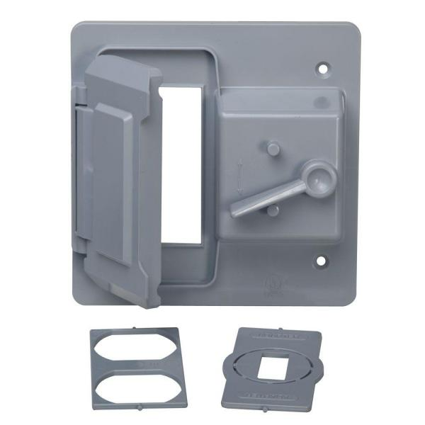 2-Gang Toggle and Receptacle/GFCI Weatherproof Cover, Gray