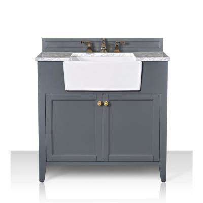 Adeline 36 in. W x 20.1 in. D Bath Vanity in Sapphire Gray with Marble Vanity Top in Carrara White with White Basin