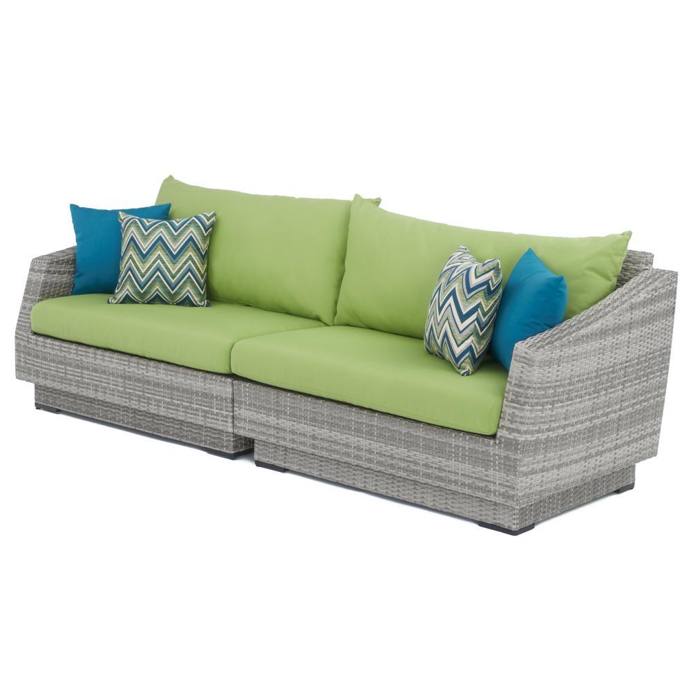 Cannes 2-Piece All-Weather Wicker Patio Sofa with Sunbrella Ginkgo Green Cushions