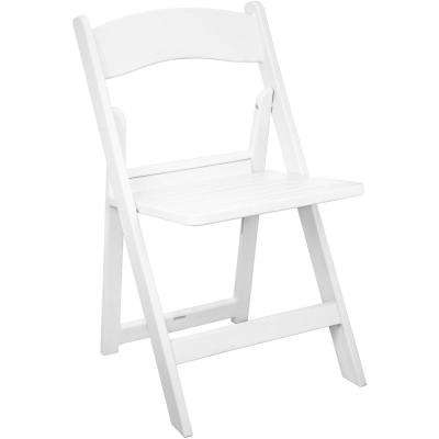 White Resin Folding Chairs with Slatted Seat