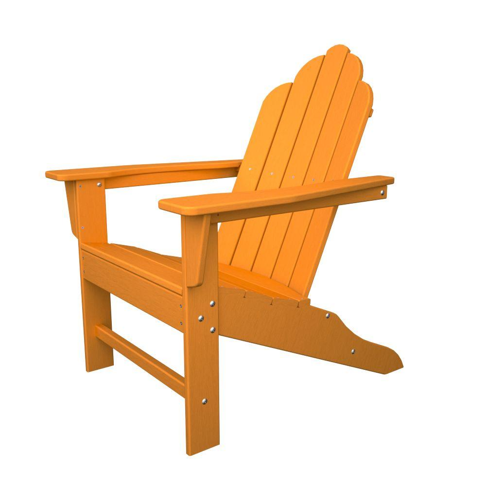 Long Island Tangerine Plastic Patio Adirondack Chair