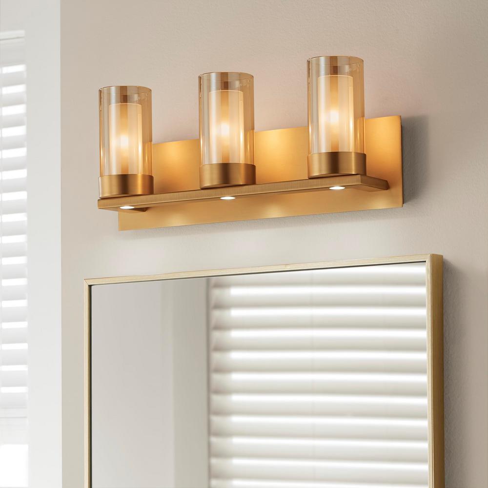 Samantha 19.5 in. 3-Light Brass LED Bathroom Vanity Light