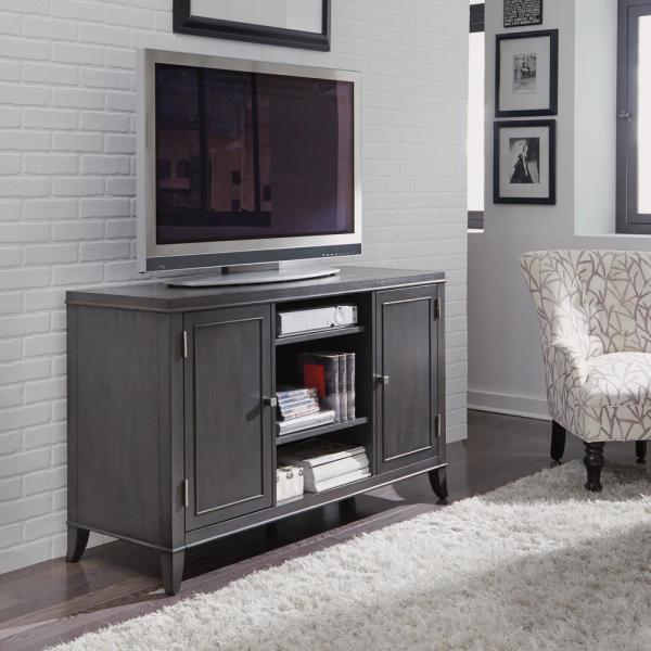 Home Styles 5th Avenue TV Entertainment Stand Credenza in Gray Sable