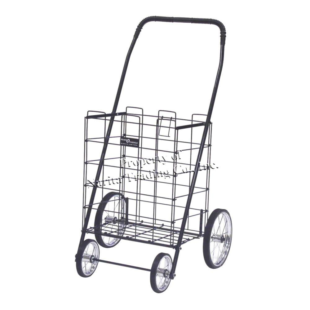 Easy Wheels Mitey Shopping Cart in Black The Easy Wheels Mitey Shopping Cart has been the industry's premier cart with industrial strength for home use. When lying down, with the cart folded, the highest measurement is the wheels with a 9.25 in. Dia giving an incredible amount of convenience in a compact size. This particular model has genuine chrome-spoked wheels with rubber-like tread. Color: Black.