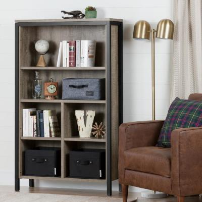 Munich Weathered Oak and Matte Black 4-Shelf Bookcase