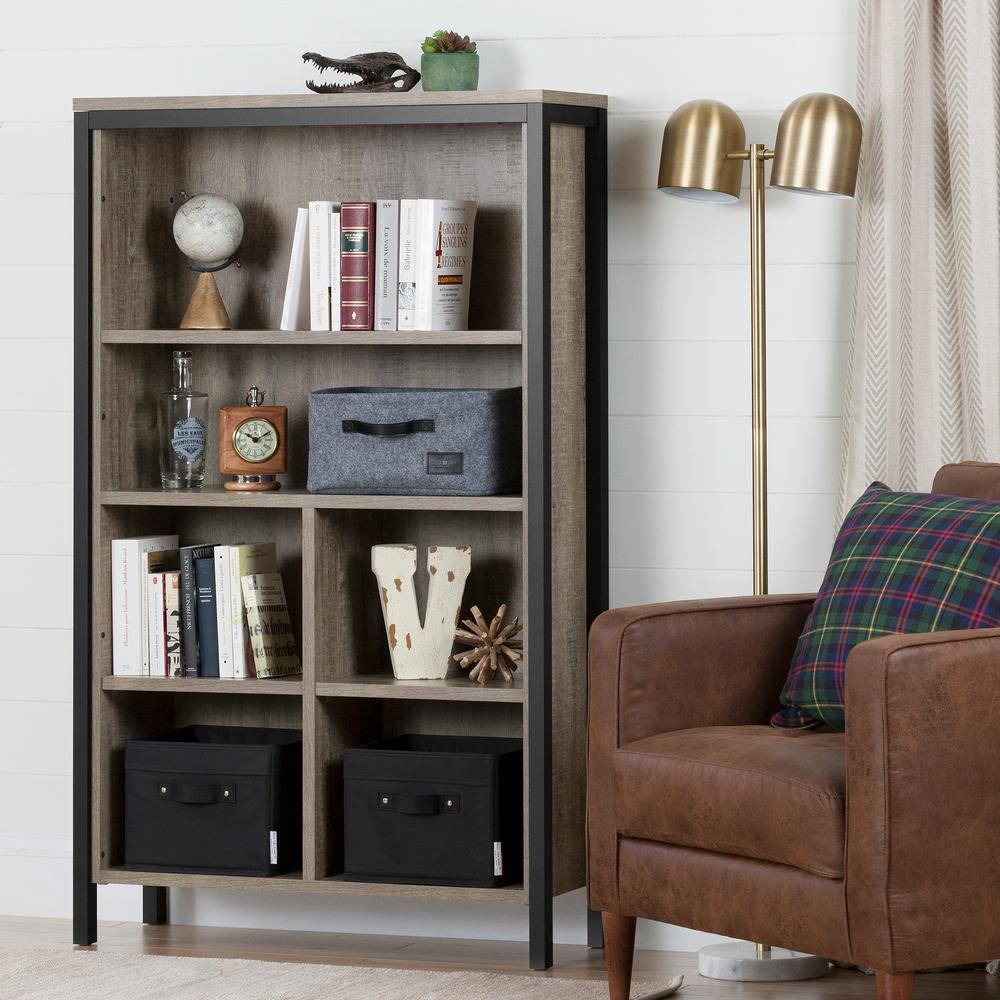 Munich Weathered Oak and Matte Black 4-Shelf Bookcase