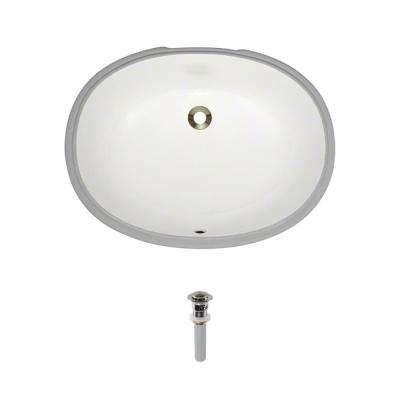 Undermount Porcelain Bathroom Sink in Biscuit with Pop-Up Drain in Brushed Nickel