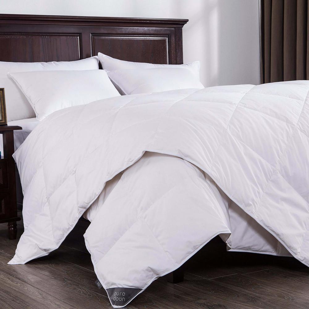 Lightweight White Duck Down Comforter King in White